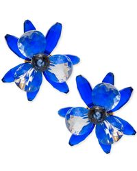 Kate Spade - Blue Gold-tone Blooming Brilliant Statement Stud Earrings - Lyst