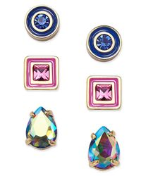 kate spade new york | Multicolor Tri-tone 3-pc. Set Crystal Stud Earrings | Lyst