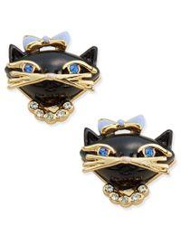 Kate Spade | Metallic Gold-tone Crystal And Enamel Black Cat Stud Earrings | Lyst
