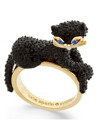 kate spade new york | Black Gold-tone Jet Pavé Three-dimensional Cat Statement Ring | Lyst