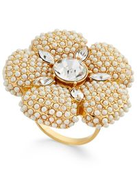 kate spade new york | Metallic Gold-tone Imitation Pearl And Crystal Flower Statement Ring | Lyst