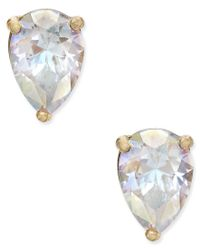 kate spade new york | White Gold-tone Crystal Teardrop Stud Earrings | Lyst