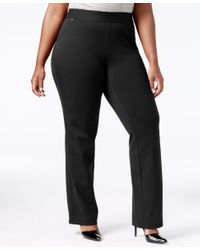 INC International Concepts   Black Plus Size Pull-on Straight-leg Pants   Lyst