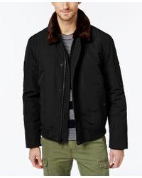 Tommy Hilfiger | Black Men's Faux-fur-collar Officer Jacket for Men | Lyst