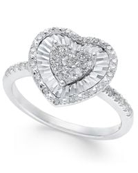 Macy's | Diamond Heart Miracle Plate Ring (3/8 Ct. T.w.) In 14k White Gold | Lyst