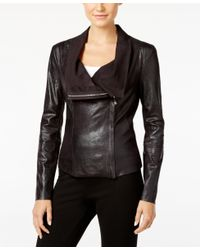 Calvin Klein | Black Distressed Faux-leather Moto Jacket | Lyst