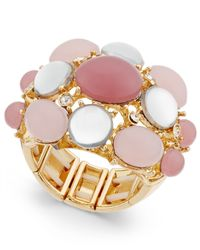 INC International Concepts | Pink Gold-tone Mauve Stone Bubble Stretch Ring, Only At Macy's | Lyst