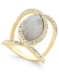INC International Concepts - Metallic Gold-tone Large Stone Openwork Statement Ring, Only At Macy's - Lyst
