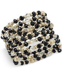 INC International Concepts Gold-tone Black And Metal Bead Coil Bracelet