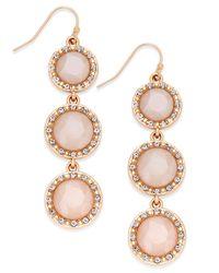 INC International Concepts | Pink Gold-tone Mauve Triple Stone Linear Earrings | Lyst