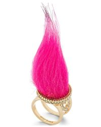 Betsey Johnson | Pink Xox Trolls Faux-fur Ring, Only At Macy's | Lyst
