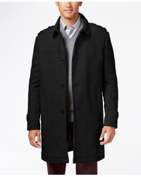Kenneth Cole   Black Wool-blend Eapulet Walker Coat for Men   Lyst