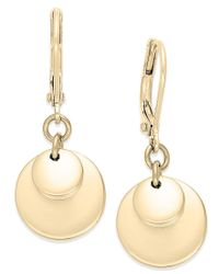 Lauren by Ralph Lauren | Metallic Gold-tone Triple Disc Drop Earrings | Lyst