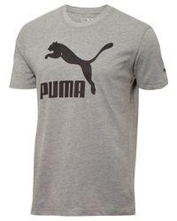 PUMA | Gray Men's Logo T-shirt for Men | Lyst