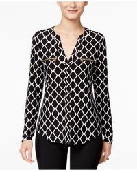 INC International Concepts | Black Printed Zip-pocket Blouse, Only At Macy's | Lyst