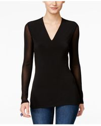 INC International Concepts   Black Illusion-sleeve V-neck Blouse, Only At Macy's   Lyst