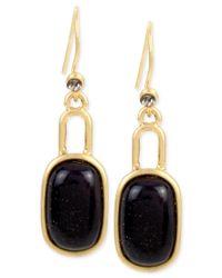 Kenneth Cole   Metallic Gold-tone Flecked Stone Oval Drop Earrings   Lyst