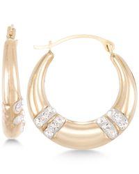 Macy's | Yellow Crystal Embellished Hoop Earrings In 10k Gold | Lyst