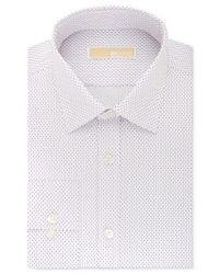 Michael Kors   White Michael Men's Classic-fit Non-iron Purple Geo-print Dress Shirt for Men   Lyst