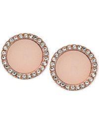 Michael Kors | Pink Rose Gold-tone Disc Stud Earrings | Lyst