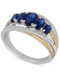 Macy's | Metallic Sapphire (1-7/8 Ct. T.w.) And Diamond Accent Ring In Sterling Silver And 14k Gold | Lyst