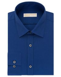 Michael Kors   Blue Michael Men's Classic-fit Non-iron Navy Print Dress Shirt for Men   Lyst