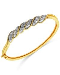Macy's | Metallic Diamond Accent Swirl Hinged Bangle Bracelet In Gold-plated Sterling Silver | Lyst