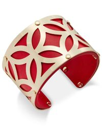 Charter Club | Red Gold-tone Filigree Leather-look Open Cuff Bracelet, Only At Macy's | Lyst
