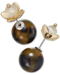 Charter Club | Metallic Gold-tone Tortoiseshell-look And Flower Reversible Front And Back Earrings, Only At Macy's | Lyst