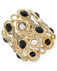 INC International Concepts - Metallic Gold-tone Jet Stone Decorative Stretch Bracelet, Only At Macy's - Lyst