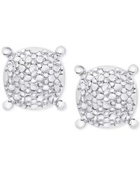 Macy's | Metallic Diamond Accent Pebble-look Round Stud Earrings In Sterling Silver | Lyst