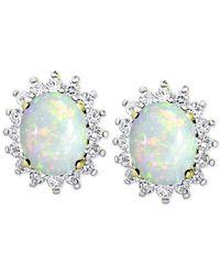 Macy's | Metallic Opal (1-3/8 Ct. T.w.) And White Topaz (9/10 Ct. T.w.) Stud Earrings In 18k Gold-plated Sterling Silver | Lyst