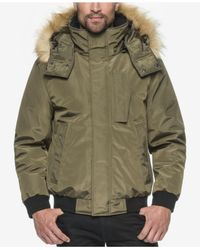 Marc New York | Green Knox Memory Bomber Jacket With Faux Fur Hood for Men | Lyst