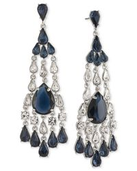 Carolee | Metallic Silver-tone Blue And Clear Crystal Chandelier Earrings | Lyst