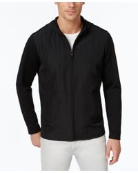 Alfani | Black Men's Quilted Zip-up Hoodie, Only At Macy's for Men | Lyst