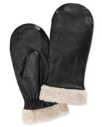 Charter Club | Black Faux Sherpa-trimmed Leather Mittens, Only At Macy's | Lyst