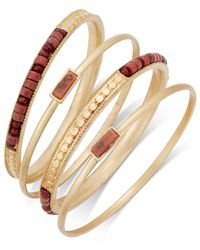 INC International Concepts | Red Gold-tone 4-pc. Brown Bead Bangle Bracelet Set | Lyst