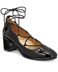 Wanted | Black Abby Lace-up Block-heel Pumps | Lyst