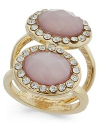 INC International Concepts - Metallic Gold-tone Double Pink Stone And Crystal Ring, Only At Macy's - Lyst