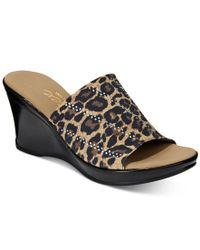 Onex - Brown Sophie Embellished Platform Wedge Sandals - Lyst