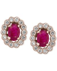 Effy Collection | Pink Amore By Effy Certified Ruby (1-9/10 Ct. T.w.) And Diamond (5/8 Ct. T.w.) Bezel Earrings In 14k Rose Gold | Lyst