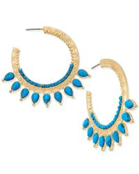 Danielle Nicole - Blue Gold-tone Turquoise-look Hoop Earrings - Lyst