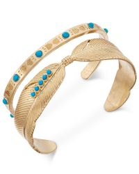 Danielle Nicole - Multicolor Gold-tone Turquoise-look Feather Cuff Bracelet Set Of Two - Lyst