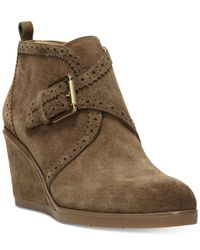 Franco Sarto | Green Arielle Wedge Booties | Lyst
