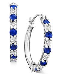 Macy's - Blue 10k White Gold Sapphire (9/10 Ct. T.w.) & Diamond Accent Hoop Earrings - Lyst
