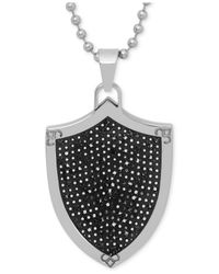 Macy's | Men's Black Diamond Shield Pendant Necklace (1/2 Ct.t.w.) In Stainless Steel And Black Rhodium Ip Over Stainless Steel for Men | Lyst