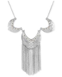 Lucky Brand - Metallic Two-tone Cut-out Fringe Statement Necklace - Lyst