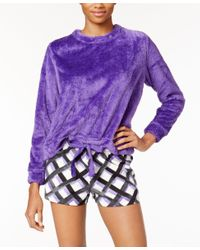 Hue | Purple Fleece Top And Printed Boxer Pajama Shorts Set | Lyst