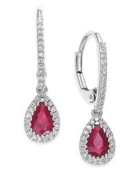 Macy's | Ruby (3/4 Ct. T.w.) And Diamond (1/5 Ct. T.w.) Drop Earrings In 14k White Gold | Lyst