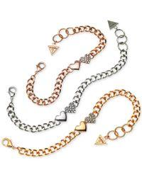 Guess   Multicolor Tri-tone 3-pc. Set Pave Heart Link Bracelets   Lyst